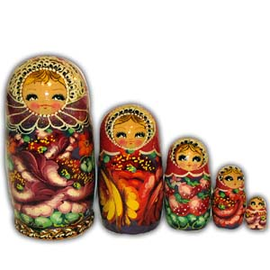 Russian Matreshka Nesting Doll, Set of 5, Red