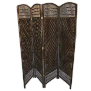 Oriental Wooden Rope Screen Room Divider - 4 Panels (Brown)