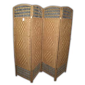 Oriental Wooden Rope Screen Room Divider - 4 Panels (Natural)