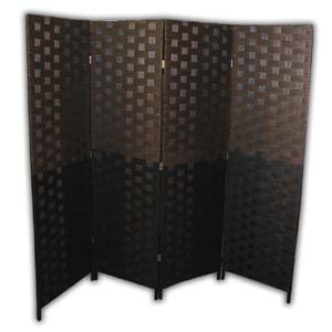 Oriental Wooden Rope Screen Room Divider - 4 Panels