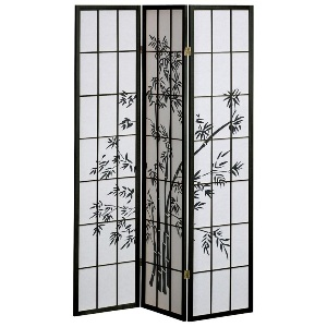 Shoji Rice Paper Screen Room Divider, 3 Panels, Bamboo Trees, Black