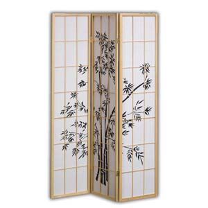 Shoji Rice Paper Screen Room Divider, 3 Panels, Bamboo Trees, Natural