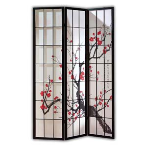 Shoji Rice Paper Screen Room Divider, 3 Panels, Red Blossom, Black