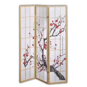 Shoji Rice Paper Screen Room Divider, 3 Panels, Red Blossom, Natural