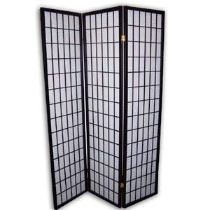 Shoji Rice Paper Screen Room Divider - 3 Panels (Black)