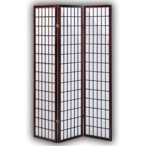 Shoji Rice Paper Screen Room Divider - 3 Panels (Brown)