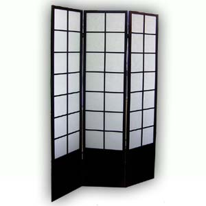 Shoji Rice Paper Wooden Screen Room Divider - 3 Panels (Black)