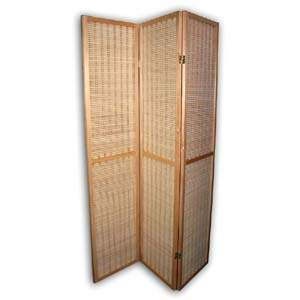 Wooden Bamboo Folding Screen Room Divider - 3 Panels (Natural)