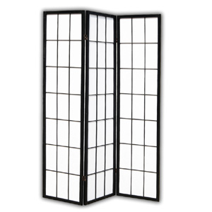 Shoji Rice Paper Folding Screen Room Divider - 3 Panels (Black)