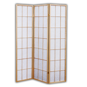 Shoji Rice Paper Folding Screen Room Divider - 3 Panels (Natural)