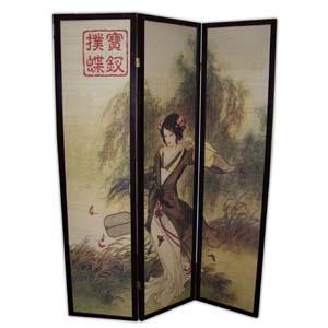 oriental village paravents paravent en bambou et bois 3 panneaux dame orientale. Black Bedroom Furniture Sets. Home Design Ideas