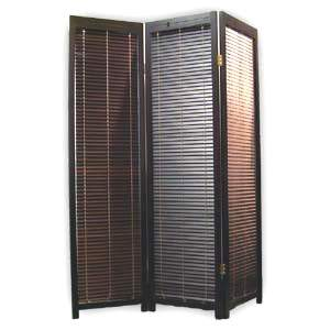 Wooden Shutter Folding Screen Room Divider - 3 Panels (Dark Brown)