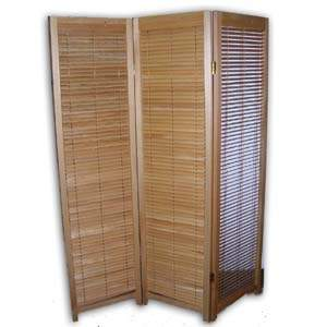 Wooden Shutter Folding Screen Room Divider - 3 Panels (Natural)