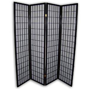 Shoji Rice Paper Folding Screen Room Divider - 4 Panels (Black)