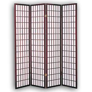 Shoji Rice Paper Folding Screen Room Divider - 4 Panels (Brown)