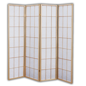 Shoji Rice Paper Screen Room Divider - 4 Panels (Natural)
