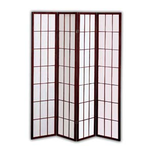 Shoji Rice Paper Screen Room Divider - 4 Panels (Brown)