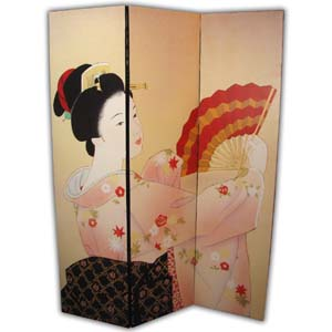 Oriental Screen Room Divider - 3 Panels (Geisha)