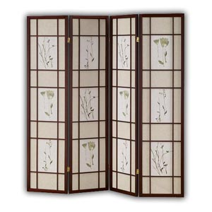 Shoji Rice Paper Screen Room Divider - 4 Panels - Flower (Brown)