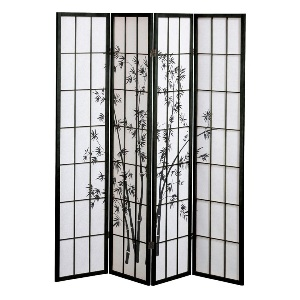 Shoji Rice Paper Screen Room Divider, 4 Panels, Bamboo Trees, Black