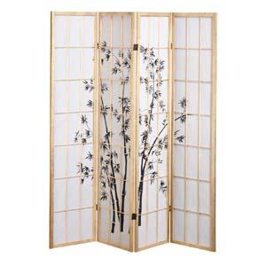 oriental village paravents paravent en papier de riz 4 panneaux avec motif de bambou. Black Bedroom Furniture Sets. Home Design Ideas