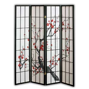Shoji Rice Paper Screen Room Divider, 4 Panels, Red Blossom, Black