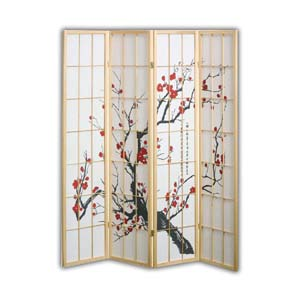 Shoji Rice Paper Screen Room Divider, 4 Panels, Red Blossom, Natural