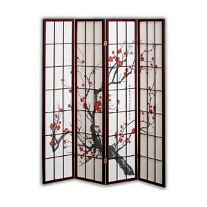Shoji Rice Paper Screen Room Divider, 4 Panels, Red Blossom, Brown