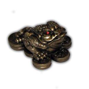 Feng Shui Oriental Chinese Three Legs Frog - Small, Gold Color
