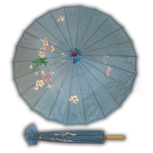 Oriental Asian Style Parasol Umbrella with Painted Design - Blue