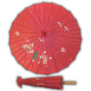 Oriental Asian Style Parasol Umbrella with Painted Design - Fushia
