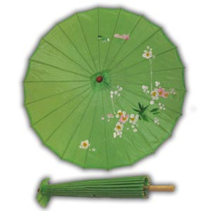 Oriental Asian Style Parasol Umbrella with Painted Design - Green