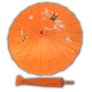 Oriental Asian Style Parasol Umbrella with Painted Design - Orange