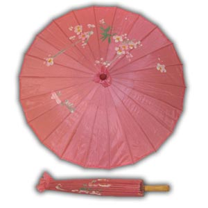 Oriental Asian Style Parasol Umbrella with Painted Design - Pink