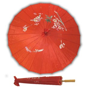 Oriental Asian Style Parasol Umbrella with Painted Design - Red