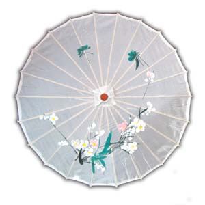 Oriental Asian Style Parasol Umbrella with Painted Design - White