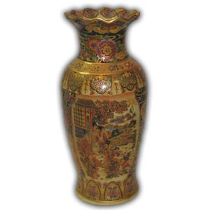 12 inchese Oriental Chinese Porcelain Vase - Chinese Ladies Geisha