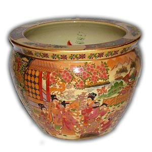 8 inches Oriental Chinese Porcelain Fishbowl - Chinese Ladies Geisha