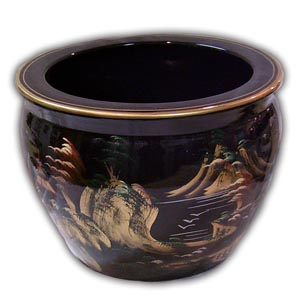 12 inches Oriental Chinese Porcelain Fishbowl - Black, Landscape
