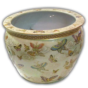 16 inches Oriental Chinese Porcelain Fishbowl - Butterfly